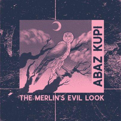 Dark Rap Album Maker Featuring an Anime-Style Owl Illustration 2872f