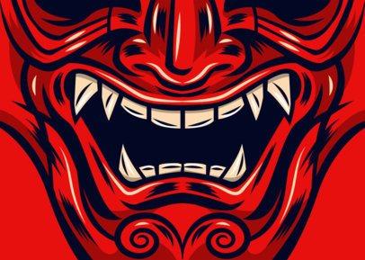 Face Mask Design Template of a Devil's Mouth 2881d