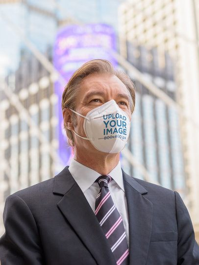 Face Mask Mockup of a Middle-Aged Businessman in the City 41678-r-el2