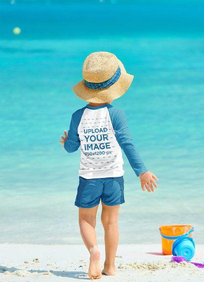 Back View Raglan Long Sleeve Tee Mockup Featuring a Boy at a Tropical Beach 42122-r-el2