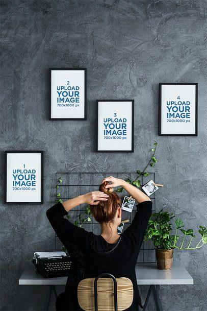 Mockup of Four Art Prints Hanging over a Woman's Desk 36347-r-el2