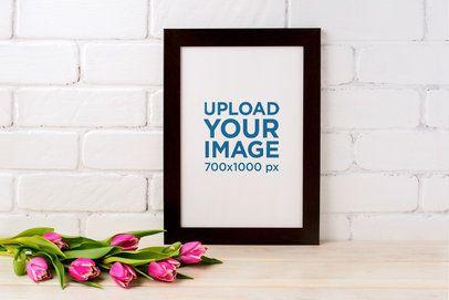 Art Print Mockup Featuring Pink Tulips 37133-r-el2