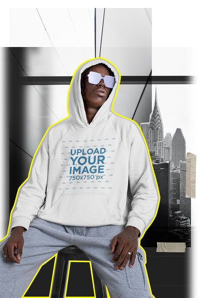 Hoodie Mockup Featuring a Man and an Outline Effect 42545