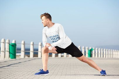 Long Sleeve T-Shirt Mockup Featuring a Man Stretching Outdoors 39882-r-el2