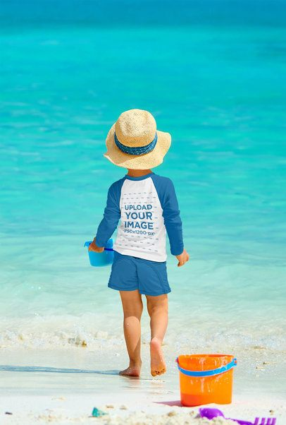 Back View of a Boy Wearing a Raglan Long Sleeve Tee by the Beach 42116-r-el2