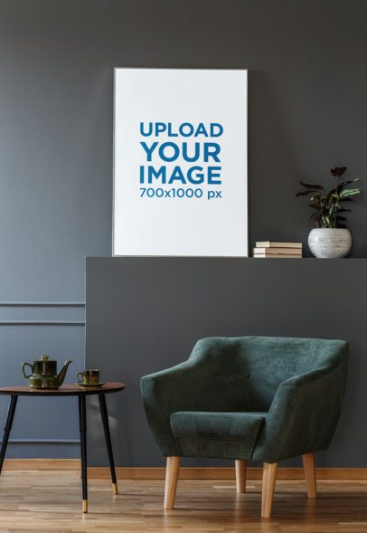 Art Print Mockup Placed Against a Gray Wall in a Modernly Decorated Room 35693-r-el2