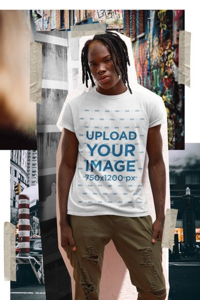 Mockup of a Stylish Man Wearing a T-Shirt Featuring a Collage Background 42543