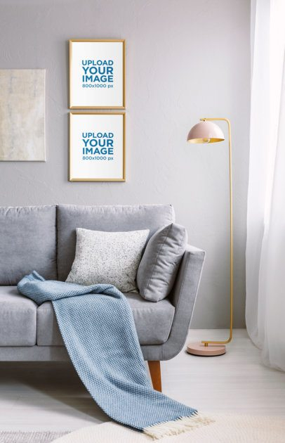 Mockup of Two Art Prints on the Wall of a Chic Living Room 38888-r-el2