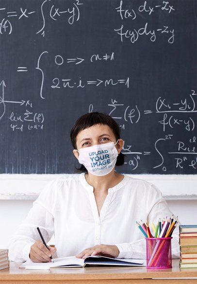 Mockup of a Math Teacher Wearing a Face Mask 42883-r-el2