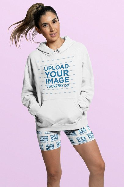 Hoodie Mockup of a Woman Wearing Bike Shorts at a Studio 42364