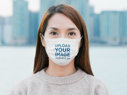 Face Mask Mockup Featuring a Woman Standing Against a City Skyline 41894-r-el2