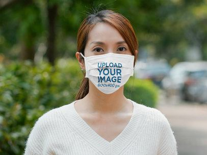 Mockup Featuring a Serious Woman With a Face Mask 42730-r-el2