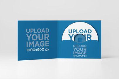 Digipak Mockup Featuring a Plain Background and a CD Inside 4948-el1