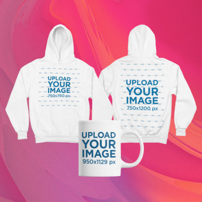 Merch Bundle Mockup Featuring Two Hoodies and an 11 oz Mug 43432-r-el2