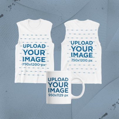 Merch Bundle Mockup Featuring an 11 oz Mug and a Both Sides-View Tank Top 43377-r-el2