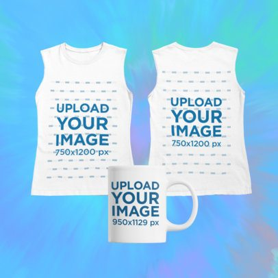 Merch Bundle Mockup of a Front-and-Back Tank Top and Mug on a Tie Dye Background 43388-r-el2