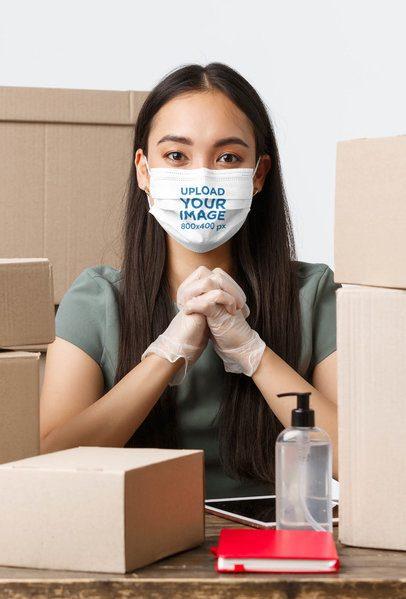 Face Mask Mockup of a Woman with Antibacterial Gel 41967-r-el2