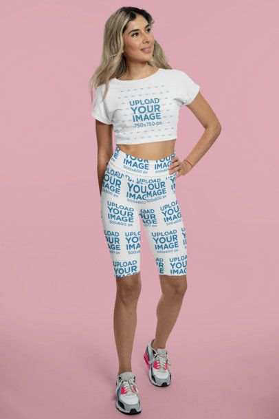 Crop Top Mockup of a Woman Wearing Bike Shorts in a Studio 42348