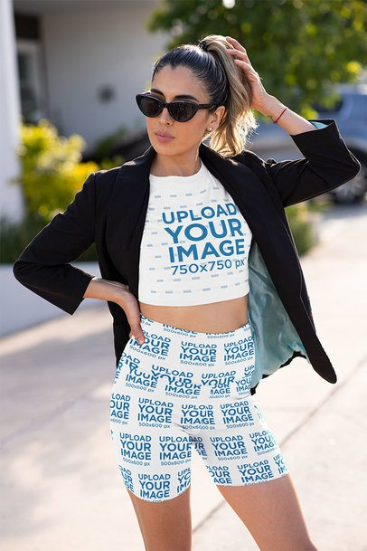 Crop Top Mockup of a Stylish Woman Wearing Bike Shorts 42381