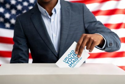 Mockup of a Man Putting His Ballot in the Box 42248-r-el2
