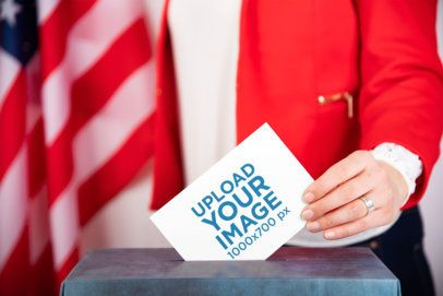 Mockup of a Businesswoman Putting Her Ballot Into a Box 42258-r-el2