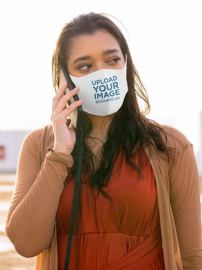 Face Mask Mockup Featuring a Woman Making a Call 42837-r-el2