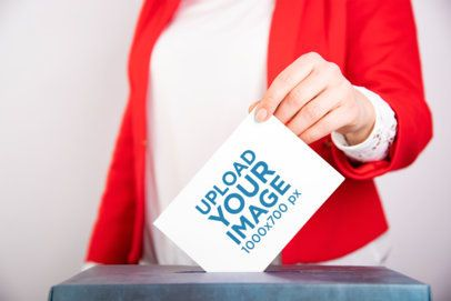 Mockup of a Woman Putting Her Ballot in the Box 42256-r-el2