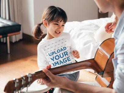 Long Sleeve Tee Mockup of a Joyful Girl at Home 41858-r-el2