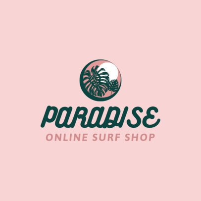 Free Logo Template for a Surf Store Featuring a Tropical Plant Clipart 3695h