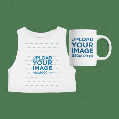 Merch Bundle Mockup Featuring a Cropped Sleeveless Tee and an 11 oz Mug 43405-r-el2