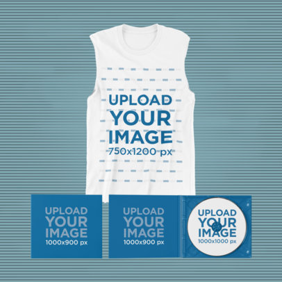 Merch Bundle Mockup of a Sleeveless Shirt and Two CD Jewel Cases 43376-r-el2