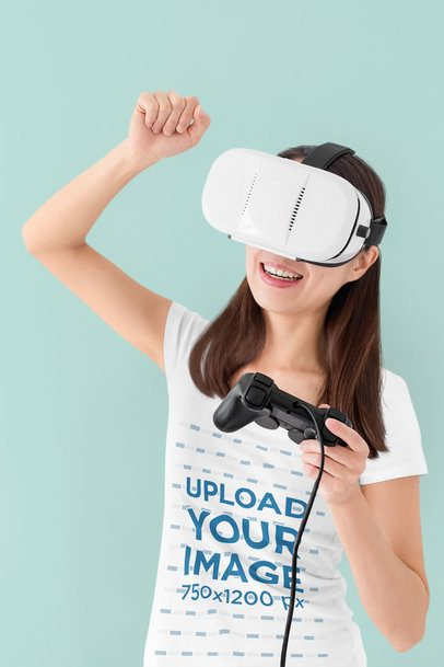T-Shirt Mockup of a Woman Playing a VR Game 42774-r-el2