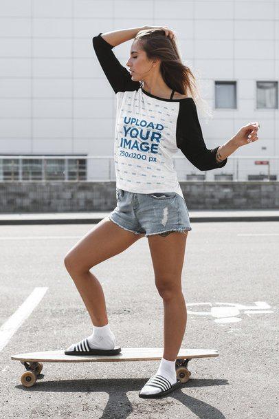 3/4 Sleeve Raglan Tee Mockup Featuring a Female Skater 43281-r-el2