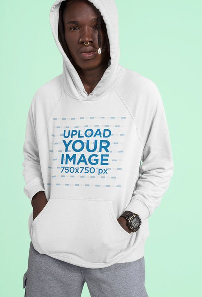 Pullover Hoodie Mockup of a Man with Locs and a Nose Ring 42983