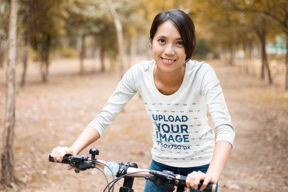 3/4 Sleeve Tee Mockup of a Happy Woman Riding a Bike 42464-r-el2