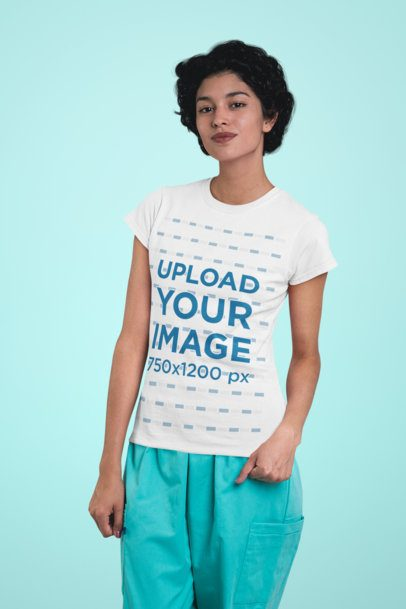 T-Shirt Mockup of a Nurse with a Sassy Expression 27477
