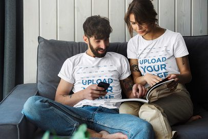T-Shirt Mockup Featuring a Couple Sitting Together 43609-r-el2