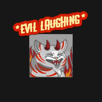 Funny Twitch Emote Logo Template Featuring an Evil Cat Laughing 3674i