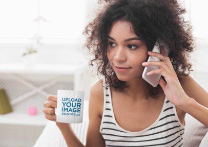 11 oz Coffee Mug Mockup Featuring a Woman Talking on the Phone 43493-r-el2