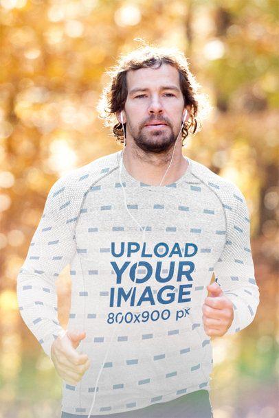 Long Sleeve Tee Mockup Featuring a Man Jogging with Earphones 42456-r-el2
