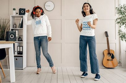 Pullover Hoodie and T-Shirt Mockup Featuring Two Young Friends Dancing 40840-r-el2