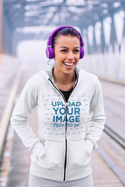 Hoodie Mockup of Woman Jogging on a Bridge 41430-r-el2