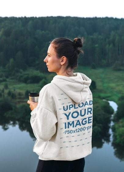 Back-View Hoodie Mockup of a Woman Admiring the Landscape 42421-r-el2