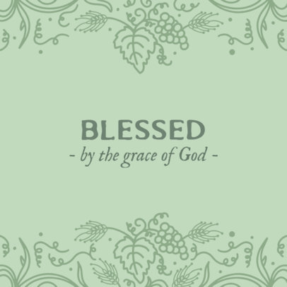 Christian Instagram Post Maker with a Blessed Quote and Ornamental Graphics 2987e