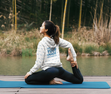 Sublimated Hoodie Mockup of a Woman Doing Yoga on a Deck by a River 40810-r-el2
