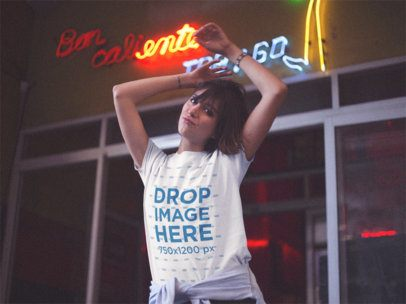 Young Girl Doing a Duckface While Wearing a Round Neck T-Shirt Outside a Bar Template a13567