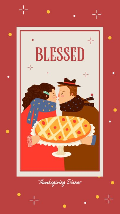 Instagram Story Creator Featuring a Couple Kissing in Thanksgiving Day 2948b-el1
