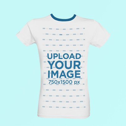 Ghosted Mockup Featuring a Ringer T-Shirt Against a Solid Color Backdrop 42412-r-el2