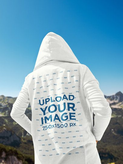 Back View Mockup of a Man with a Hoodie Looking at the Mountains 41103-r-el2