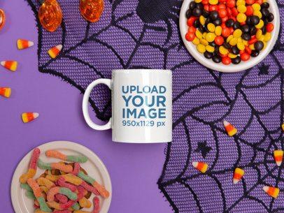 11 oz Mug Mockup Featuring Halloween Candies m120